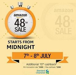 Amazon 48 Hour Sale: Deep Discount Sale+ Extra Cashback on Standard Chartered Credit & Debit Cards and HDFC Bank Debit Cards: Extra 5% cashback