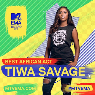 Tiwa Savage Wins #MTVEMA 'Best African Act' (Photos)