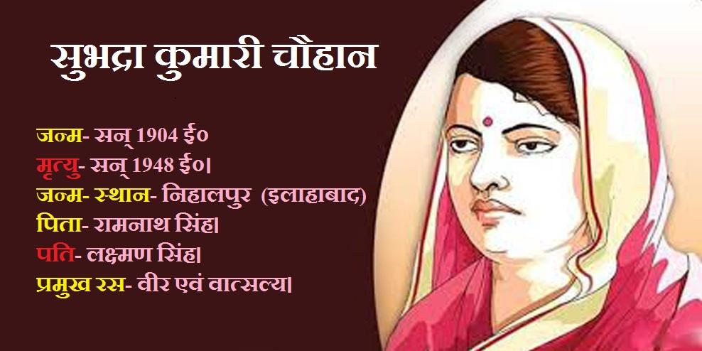 सुभद्रा कुमारी चौहान - जीवन परिचय, रचनाएँ और भाषा शैली