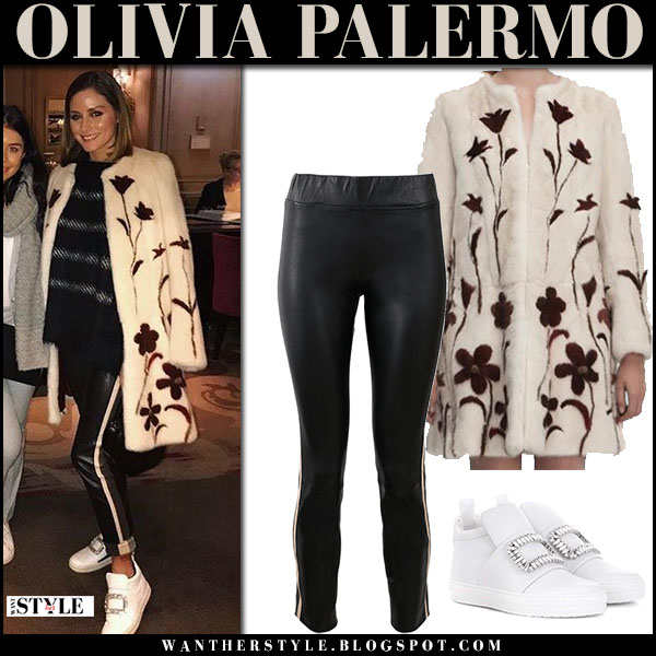 Olivia Palermo in cream fur floral embellished coat, leather pants and white sneakers roger vivier fashion week style march 3