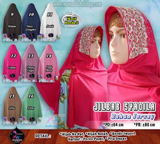 Jilbab instan cantik bahan jersey jeruk brokat import(2)