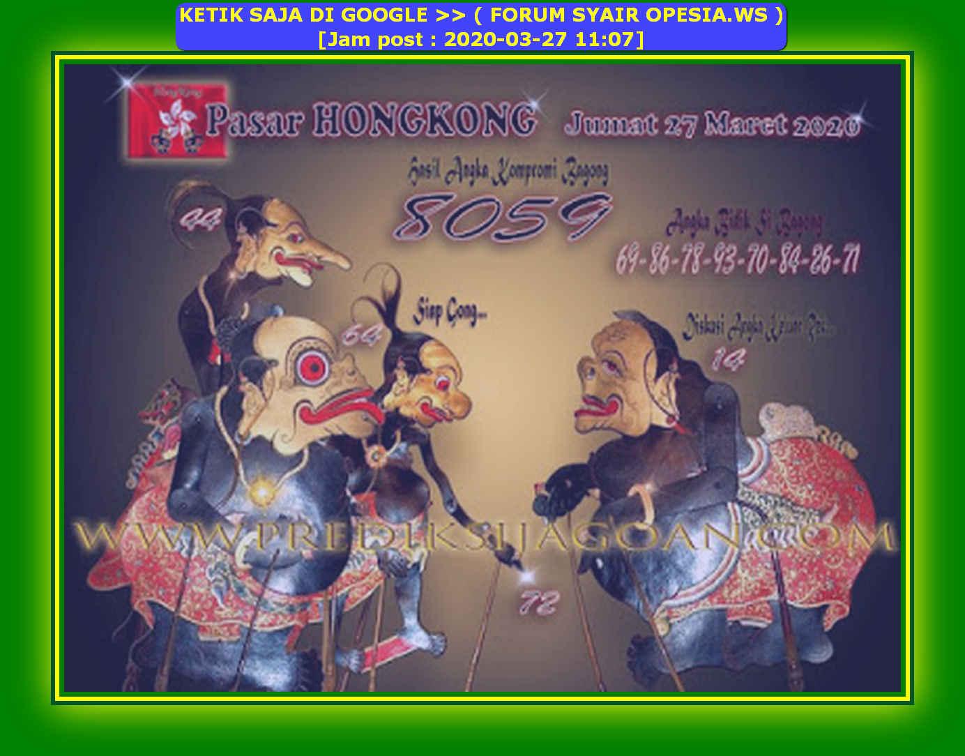 Kode syair Hongkong Jumat 27 Maret 2020 141