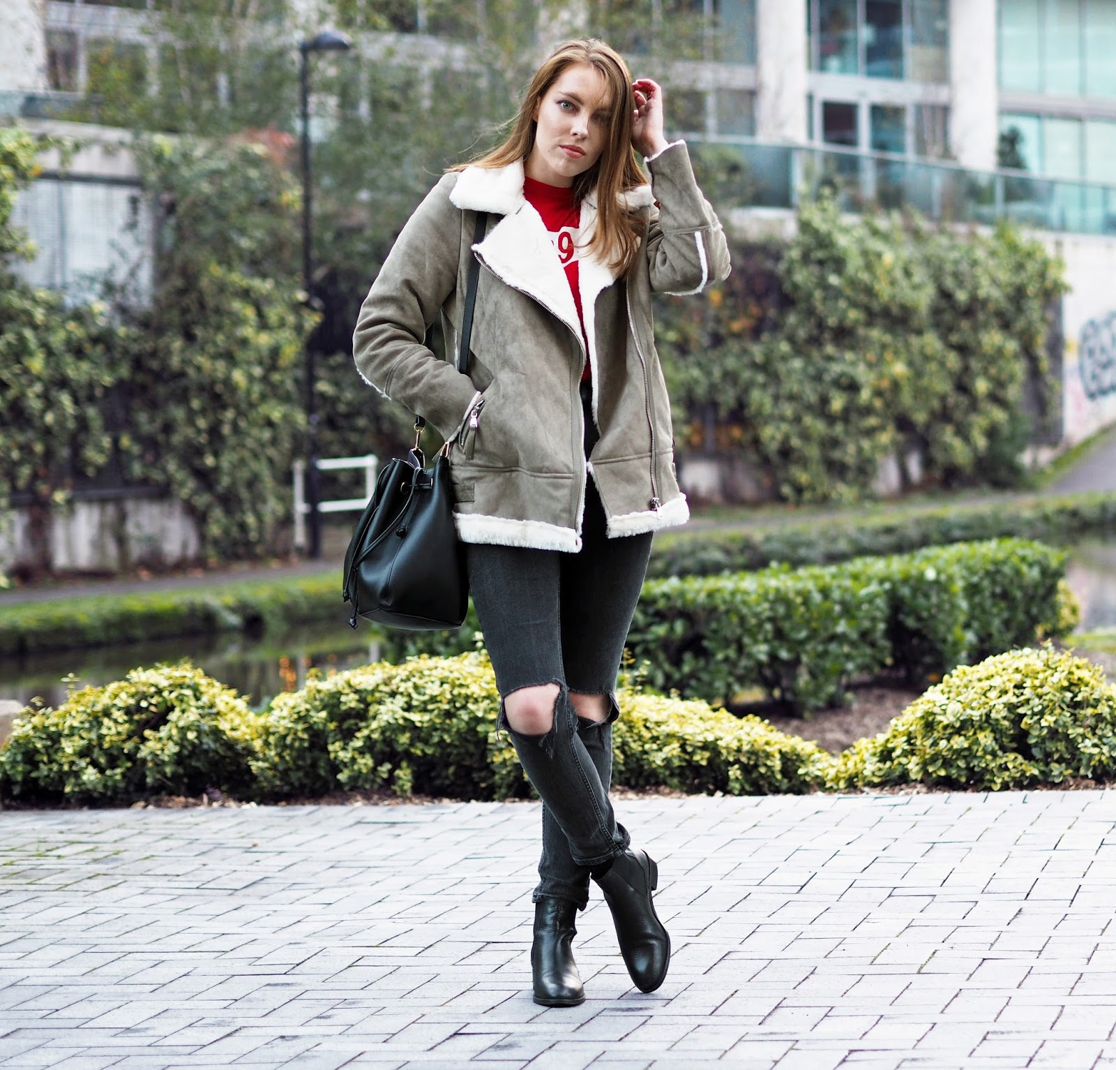 faux shearling biker jacket