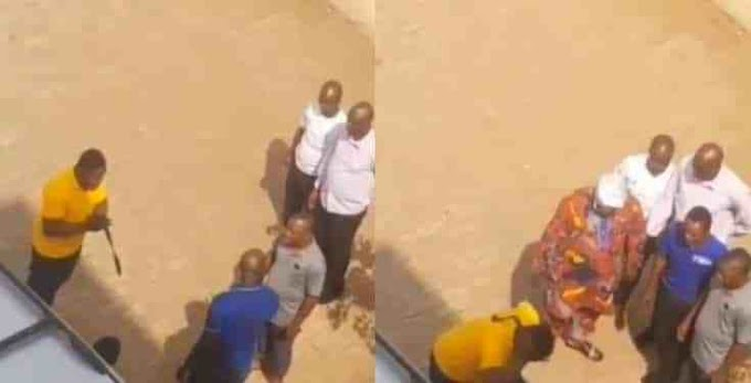 Angry Nigerian Dad storms Babcock University, flogs his son for scamming him - Video