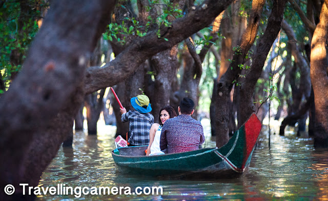 The boat people had to be experts to row through the dense forest of gnarled, twisted mangroves. We often had to bend our heads to avoid hitting the thick branches. One could lie on your backs in the boats and enjoy floating under the greenery.