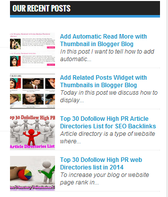 Recent Posts List Widget for Blogger Blog