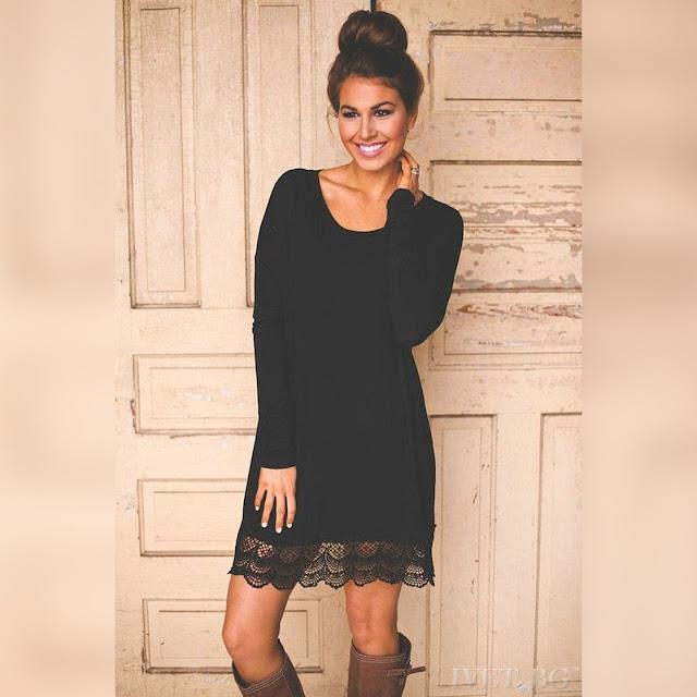 Μακρυμάνικο κοντό μαύρο φόρεμα NOELA