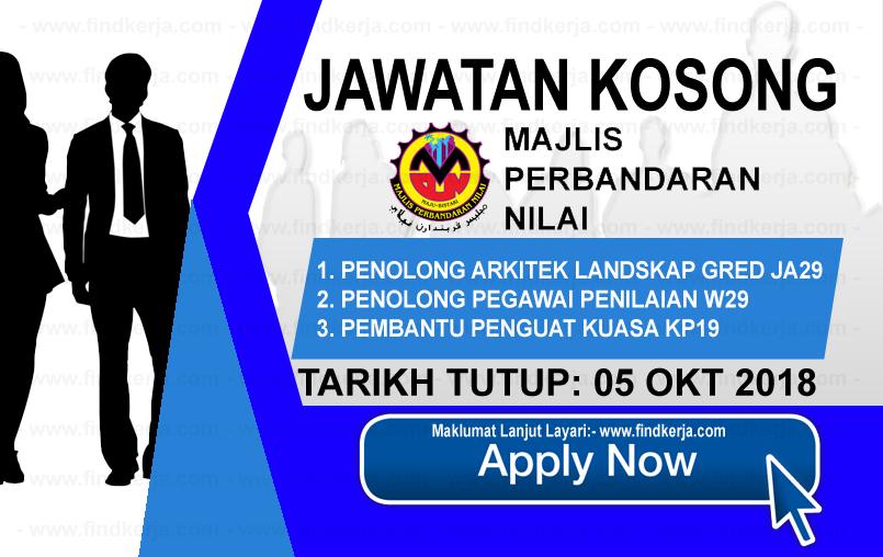 Jawatan Kerja Kosong MPN - Majlis Perbandaran Nilai logo www.ohjob.info www.findkerja.com oktober 2018