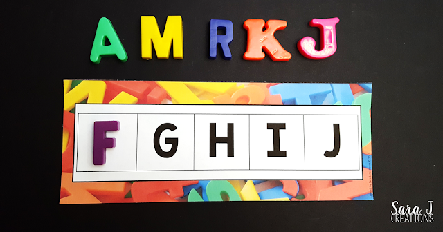Free alphabet sequencing cards to use with magnetic letters. Also check out all of the other magnetic letter freebies at the bottom. #sarajcreations #magneticletters #alphabet #kindergarten