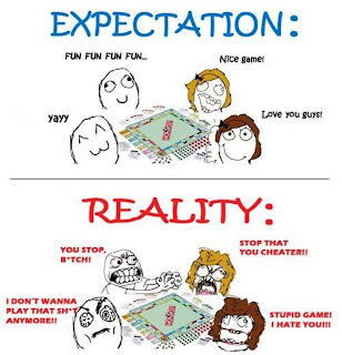 A comic about Monopoly—expectation versus reality.