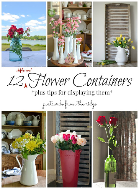So clever! Lots of pretty things to use as flower vases. Postcards from the Ridge