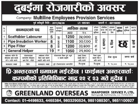 Jobs in Dubai for Nepali, Salary Rs 35,000