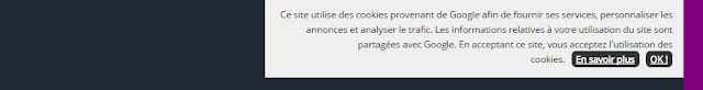 notification de la barre de cookies sur Blogger