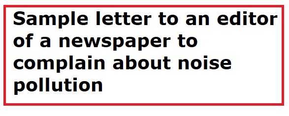 letter to newspaper editor complaining about pollution