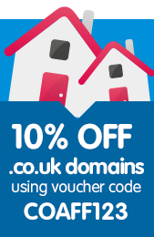 10% off .co.uk domains with code COAFF123