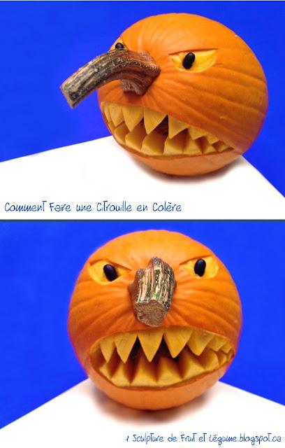 1 sculpture de fruit et l gume comment faire une citrouille en col re pour l 39 halloween. Black Bedroom Furniture Sets. Home Design Ideas