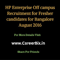HP (Hewlett Packard) Enterprise off campus Recruitment as Java Developer for Technical bachelor Degree in Bangalore Aug 2016