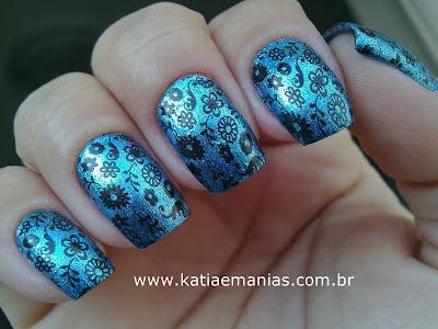 Novo Toque, DRK, Nail Plus, carimbada, La Femme, Ousada Nails, Azul,