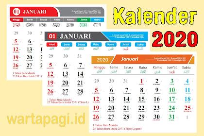 Download Kalender 2020 CDR lengkap Jawa dan Hijriyah Gratis