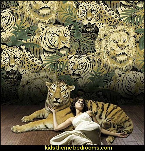 Animal Tiger Lion Wallpaper  wild animal print bedroom decor  - leopard print decorating ideas- giraffe print - zebra print - cheetah bedroom decor - wild animal print decorating  - leopard print decor - leopard print walls -  tiger wall decal