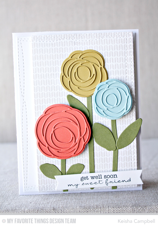Get Well Flowers Card by Keisha Campbell featuring the Lisa Johnson Designs Delicate Pretty Poppies stamp set and Scribble Roses and Scribble Roses Overlay Die-namics, Sweater Stitch Background stamp, and the Wonky Stitched Rectangle STAX Die-namics #mftstamps