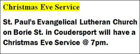 12-24 Christmas Eve Service, Coudersport