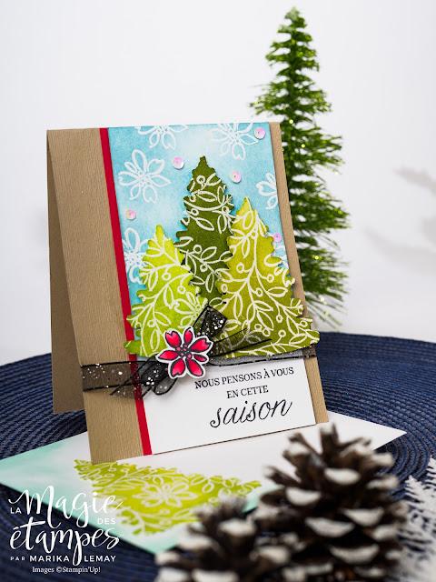 Carte de Noël créée avec le jeu d'étampes Plume et givre