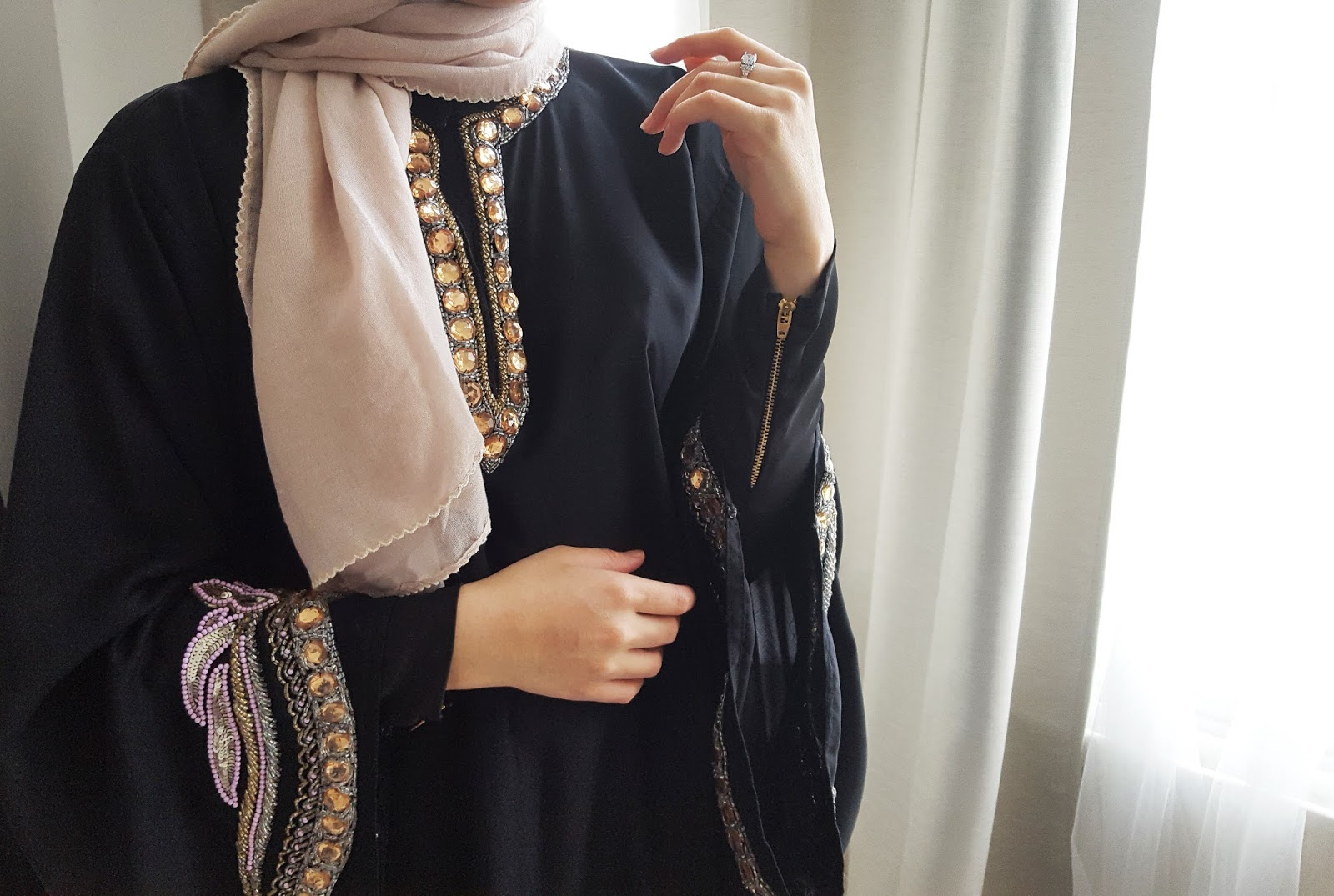 heavily beaded abaya