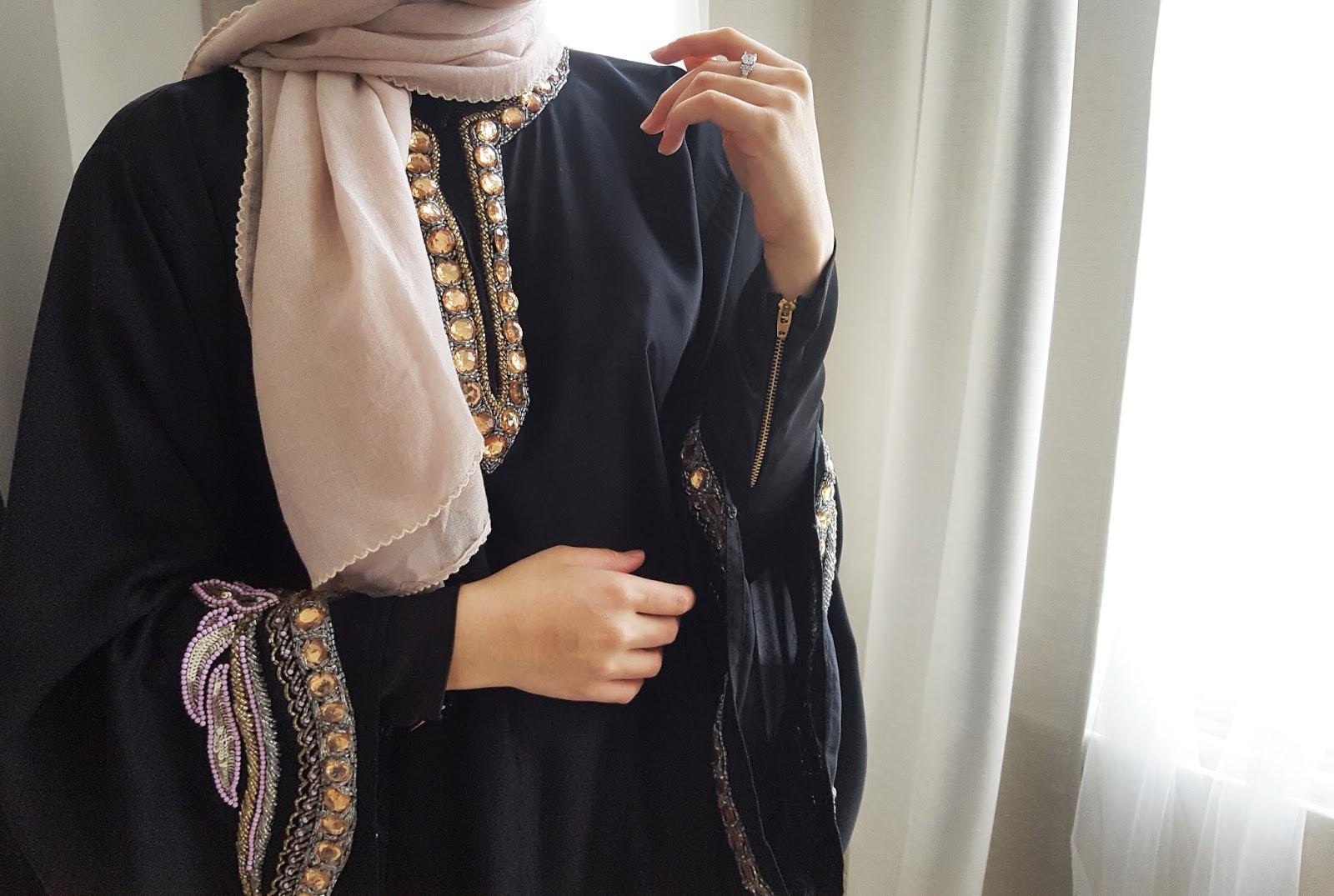 heavily beaded abaya