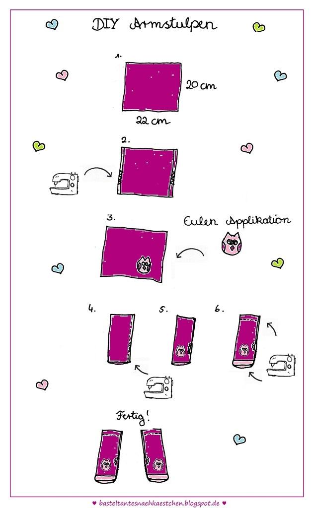 Armstulpen mit Eulen Applikation selbst genäht (Anleitung)