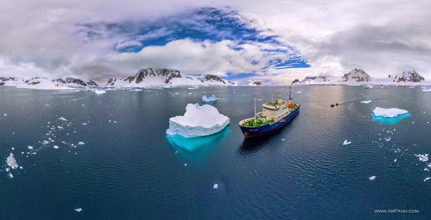 Cruise ship - Cold Yet Beautiful Photos Of Antarctica Taken By AirPano