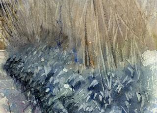 右下、あじさいの枯れ枝と笹の葉。