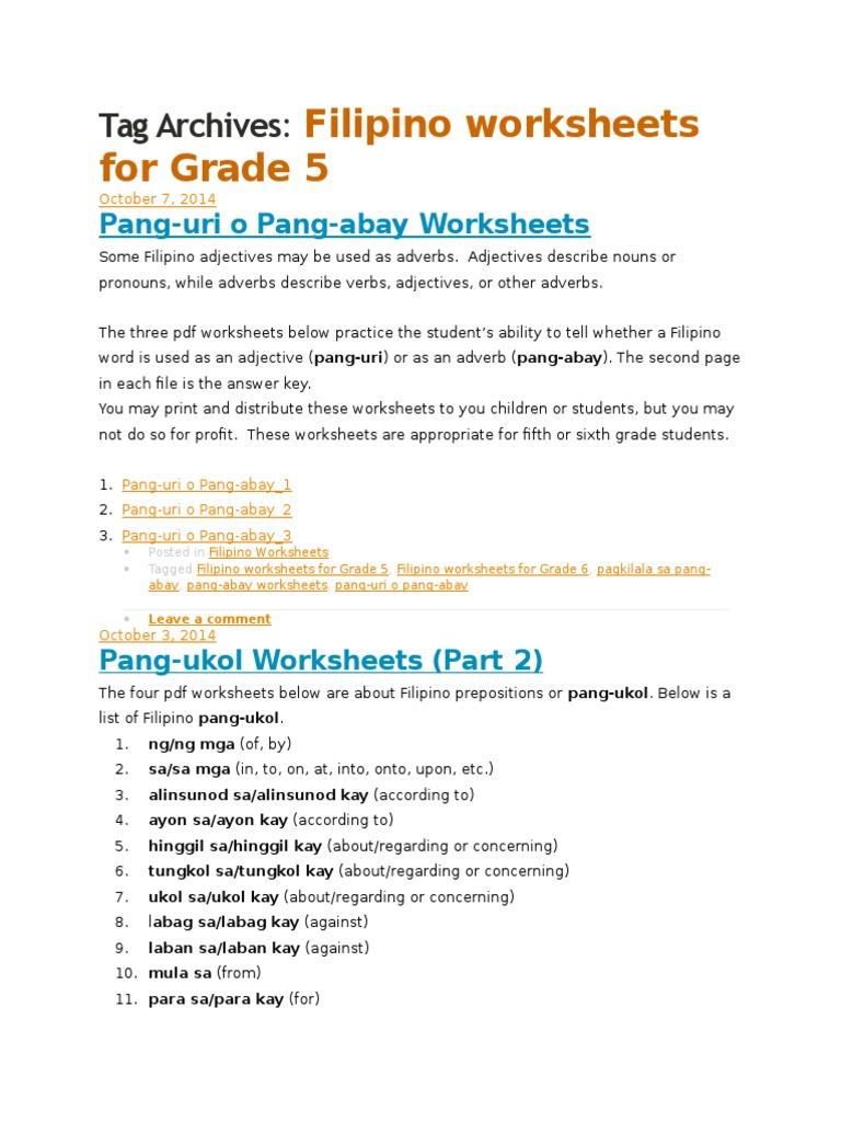 Pang Abay Worksheets