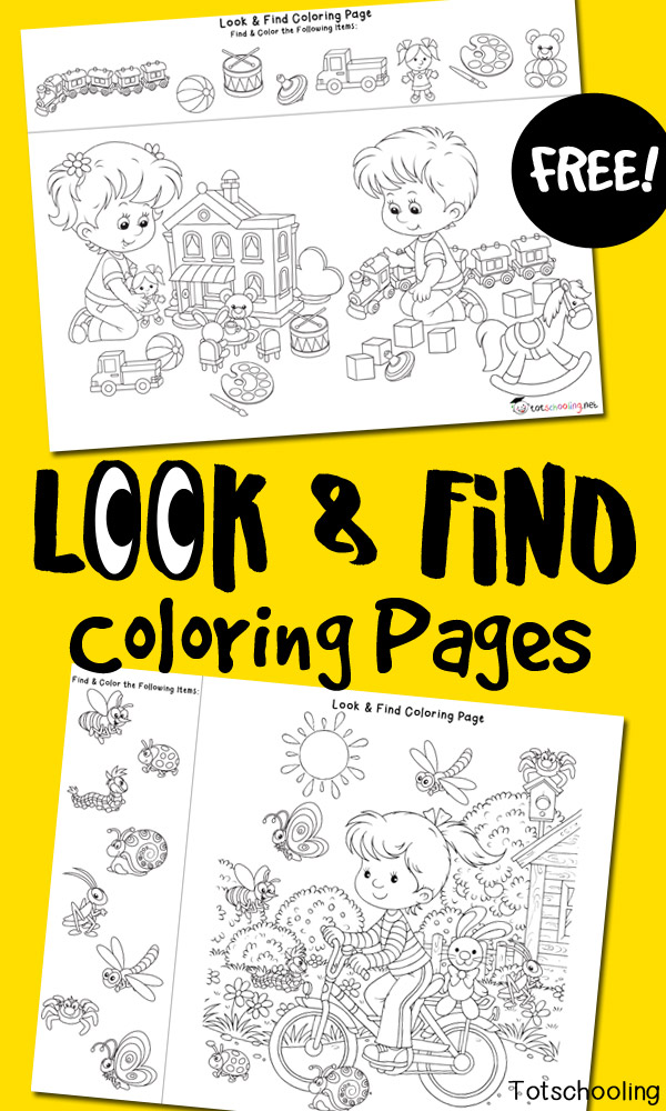 Look & Find Coloring Pages Totschooling - Toddler, Preschool, Kindergarten  Educational Printables