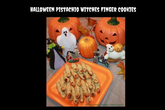 Halloween Pistachio Witches Finger Cookies scary crooked pistachio cookies buttery pistachio green tasty cookies topped with pumpkin seeds for fingernails. The pistachio cookies are molded into fingers. the Halloween decorations are ghosts, pumpkins, a witch, rip gravestone and carved pumpkin heads