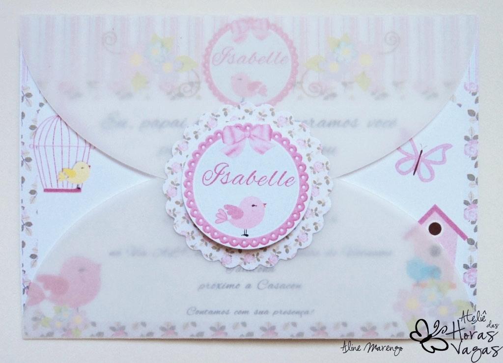 convite artesanal provençal passarinhos envelope papel vegetal aniversário 1 aninho bebê floral rosa