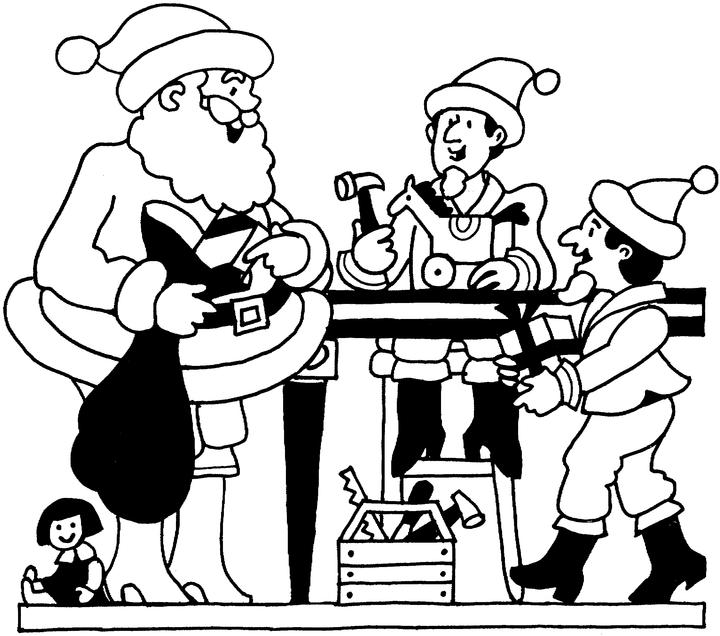 free santa workshop coloring pages - photo#11