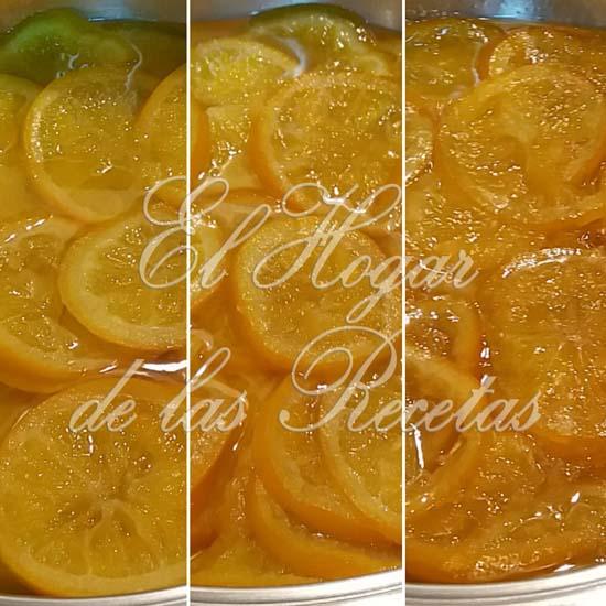 Fases de la cocción de la Naranja Confitada Casera