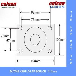 Kích thước mặt bích Bánh xe đẩy inox 304 Colson phi 200 chịu lực 450kg