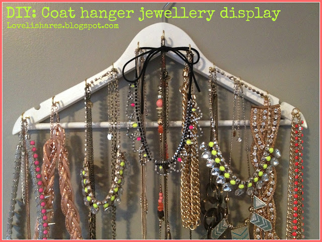 DIY coat hanger jewellery display