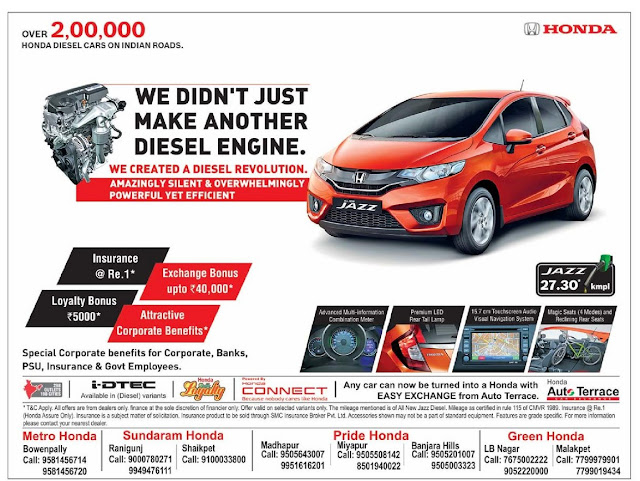 Honda Jazz amazing offer | May 2016 discount offer | Festival offer