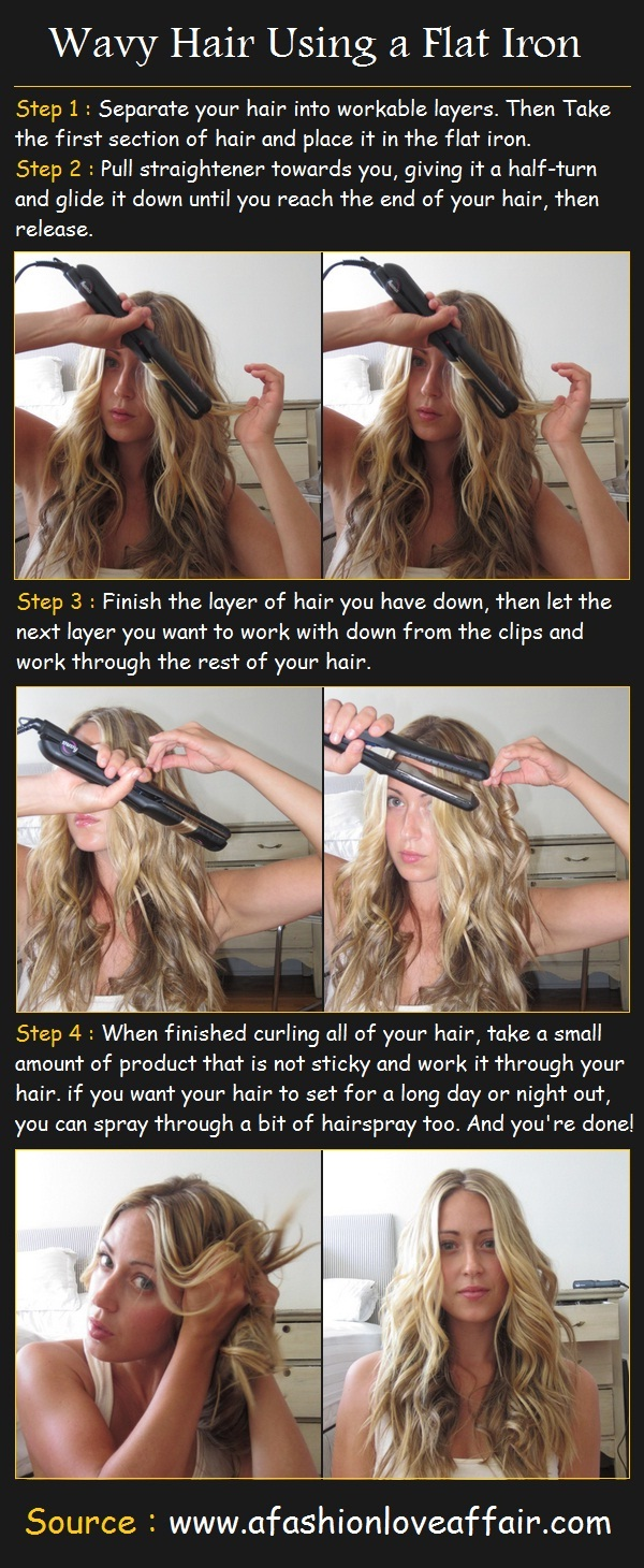 wavy hair using a flat iron pinterest tutorials. Black Bedroom Furniture Sets. Home Design Ideas