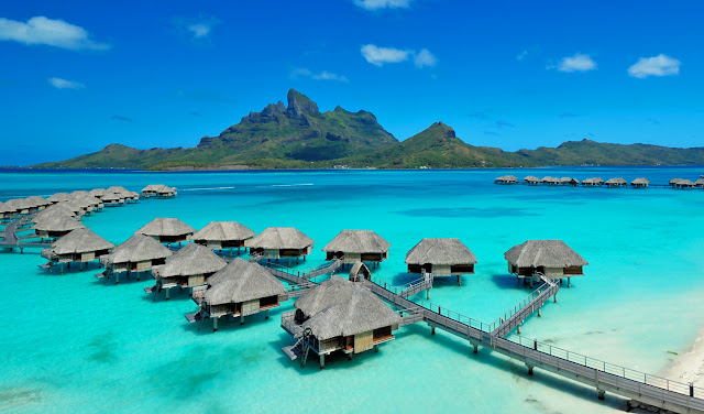 Bora Bora, image taken from https://www.blacktomato.com/destinations/french-polynesia/four-seasons-bora-bora/