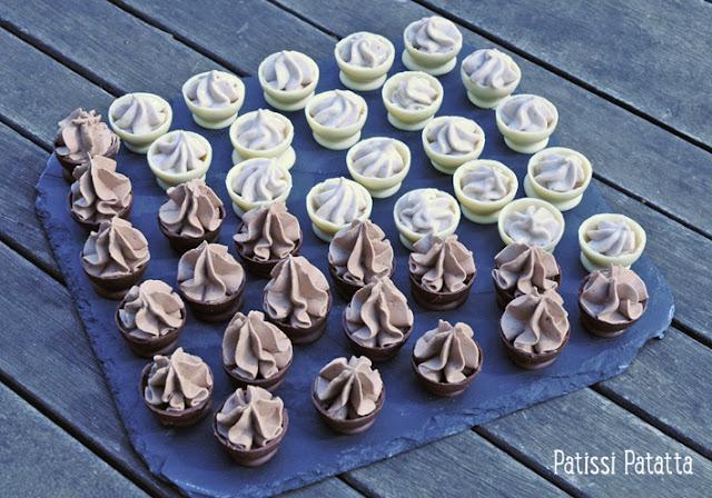 coques chocolat blanc, coques chocolat au lait, coques fourrées ganache praliné, coques fourrées banane, chocolat de Pâques, dômes chocolat blanc, dômes chocolat au lait, comment faire des dômes au chocolat, recette de dômes au chocolat, technique dômes au chocolat