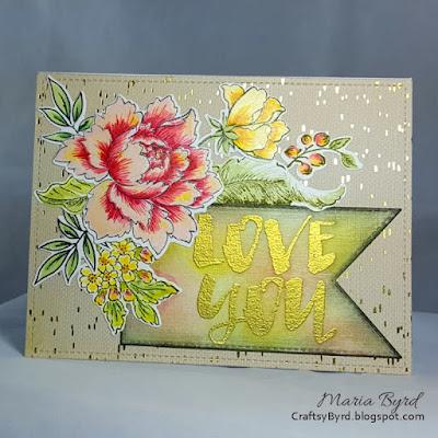 Altenew & WPlus9 Love You Card by Maria Byrd | CraftsyByrd.blogspot.com