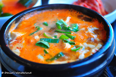 Spicy seafood tofu soup