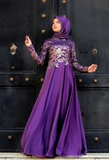 Baju muslim pesta brokat elegan