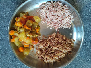 Maappillai Samba sweet and salt poha,  Ash gourd Carrot Green gram sprouts masala