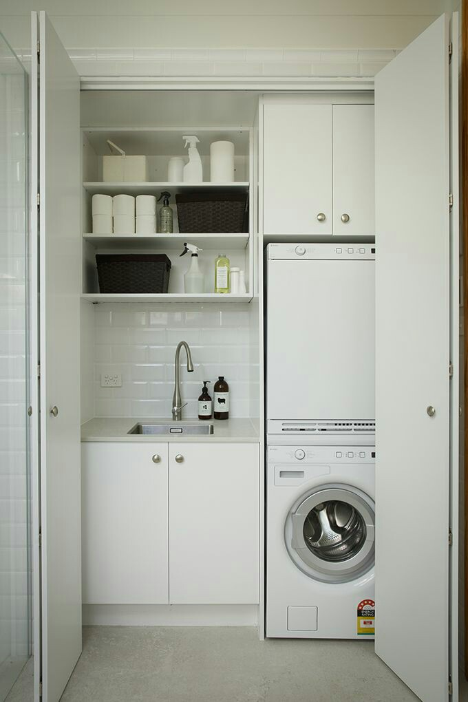 A laundry room doesn't have to be that lifeless, boring place where you only go to throw your dirty clothes. It needs to be enjoyable, cool and comfortable. See the images below for more inspirational small space saving design ideas.