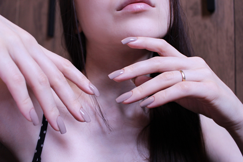 simple, nude nail polish and manicure